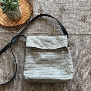 Pure J Jill linen and leather crossbody bag purse